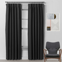BOND Room Darkening Soft Drape Blockout Pinch Pleat Curtains 250cm drop 3 widths BLACK