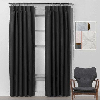 BOND Pinch Pleat 250cm drop Room Darkening Curtains BLACK | 3 Sizes!