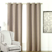 Chicago Eyelet Jacquard Stripe Curtain Taupe | Sold Out!