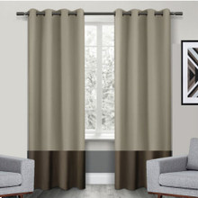 Texas Wheat and Brown Eyelet Blackout Curtain Panel Quickfit | Designer Pick