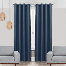 COLORADO Linen Look Thermal Weave Blackout Curtain Panel  NAVY | New |  4 Sizes!