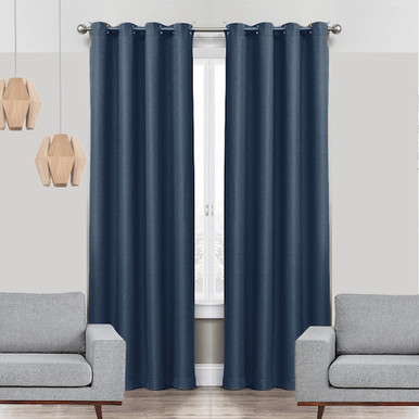 Linen Look Thermal Weave Blackout Eyelet Curtain Panel Navy