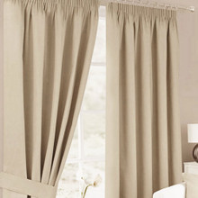 HAMPTON Thermal Pencil Pleat Curtains Natural Linen Look  4 Sizes  LINEN