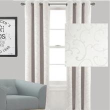 Scroll Blockout Eyelet Curtain | Ecru Off White