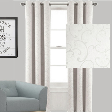 Scroll Blockout Eyelet Curtain   Ecru Off White   Sold Out!