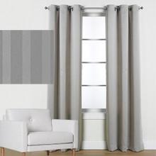 Blockout Eyelet Melbourne Stripe Curtains GREY