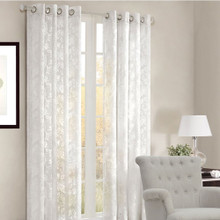 SCROLL White Sheer Eyelet Curtain Panels | New!