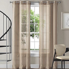 MONTAUK Taupe Sheer Eyelet Curtains