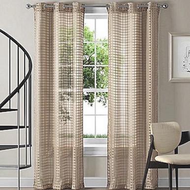 Montauk Sheer Check Eyelet Curtain Panel Taupe Quickfit