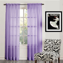 ORGANZA SHEER VOILE ROD POCKET CURTAIN PURPLE