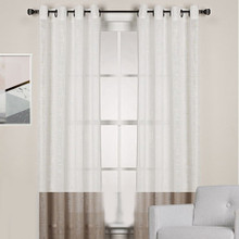 HOMESPUN Linen Look Sheer Eyelet Curtain Panel WHITE/BROWN | New!