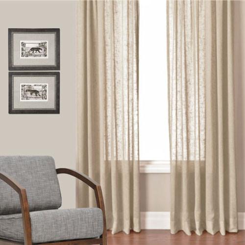 Husk Linen Look Sheer Eyelet Curtain Panel Avail In Xl