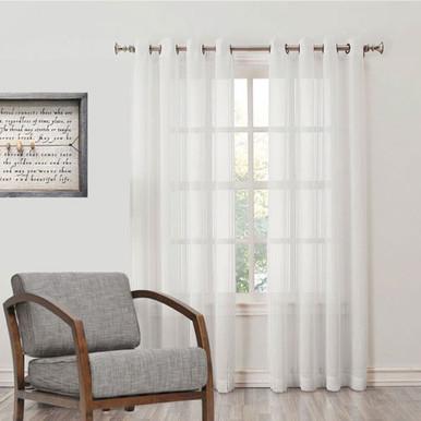 WALDORF Natural Stripe Sheer Eyelet Curtain Panel Avail In XL Drop WHITE
