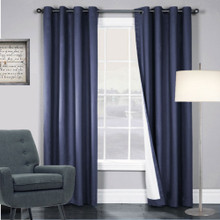 ARIZONA BLOCKOUT EYELET CURTAINS SHANTUNG LOOK STEEL BLUE
