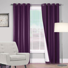 ARIZONA BLOCKOUT EYELET CURTAINS SHANTUNG LOOK PURPLE GRAPE