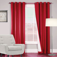 ARIZONA BLOCKOUT EYELET CURTAINS SHANTUNG LOOK RED