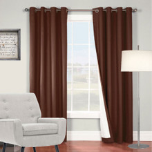 ARIZONA BLOCKOUT EYELET CURTAINS SHANTUNG LOOK CHOCOLATE BROWN |Sold Out!