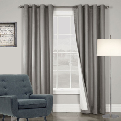 ARIZONA BLOCKOUT EYELET CURTAINS LOOK CHARCOAL GREY