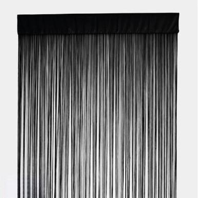 STRING Curtain Panel Fringe Room Divider BLACK Quickfit Blinds