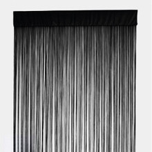 BLACK FRINGE STRING CURTAIN PANEL