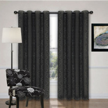 Newcastle Black Damask Eyelet Curtains  | 4 Sizes