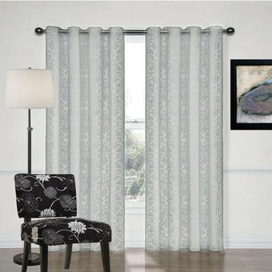 Newcastle Silver Grey Damask Eyelet Curtains    4 Sizes