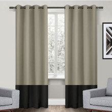 Texas Wheat and Black Eyelet Blackout Curtain Panel Quickfit | Designer Pick