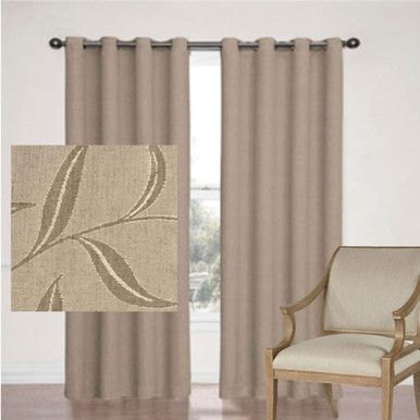 LEAF JACQUARD BLOCKOUT EYELET CURTAINS TAUPE