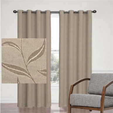 LEAF JACQUARD BLOCKOUT EYELET CURTAIN LATTE | Sold Out!
