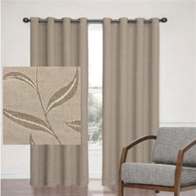 LEAF JACQUARD BLOCKOUT EYELET CURTAIN LATTE | Sale – 30%