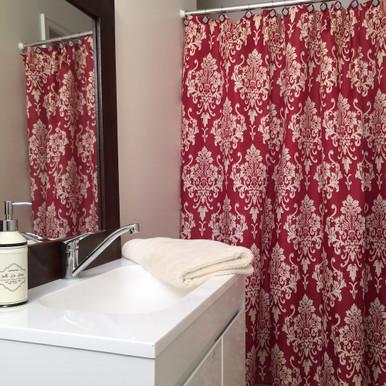 Red Damask Shower Curtain Set + 12 Decorative Hooks - Quickfit ...