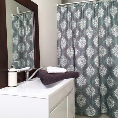 Damask Shower Curtain Set + 12 Decorative Hooks Blue and Grey ...