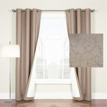 Scroll Blockout Eyelet Curtain Latte brown | Sold Out!