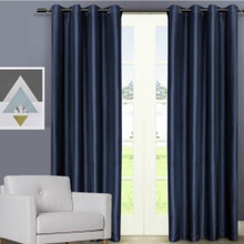 Villa faux Silk Shantung Look Eyelet Curtain Panel Navy Blue | 2 Sizes