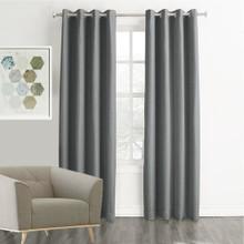 MEMPHIS Textured Fabric 100% Blockout Curtains GREY