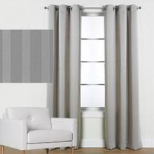 Melbourne Eyelet Curtain Panel Blockout Stripe GREY | New