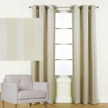 Melbourne Blockout Eyelet Curtains Jacquard Stripe CREAM | New