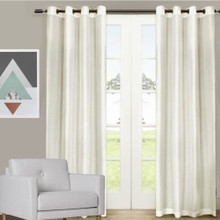 Villa faux Silk Shantung Look Eyelet Curtain Panel Ivory | 4 Sizes