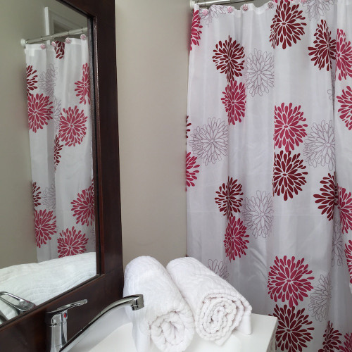 Hot Pink Flower Shower Curtain Set And 12 Hooks