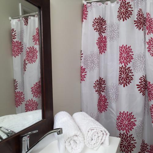Quickfit Hot Pink Shower Curtain 12 Decorative Hooks Modern White Pink Flower Ebay