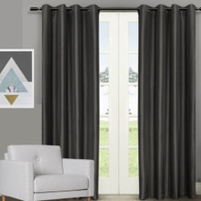 Villa faux Silk Shantung Look Eyelet Curtain Panels Black | 2 Sizes