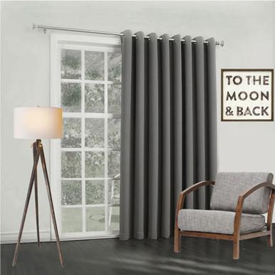 Bond Soft Drape Extra Wide Eyelet Curtain Panel Charcoal   4 Sizes