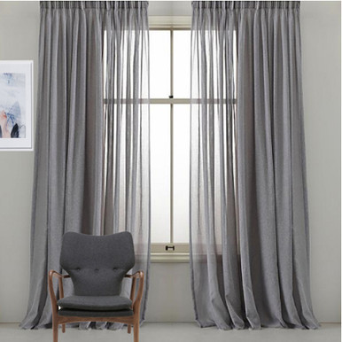 GREY SHEER CURTAINS PINCH PLEAT QUICKFIT