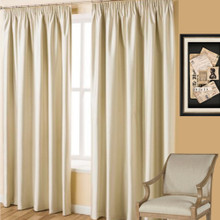 Villa Ivory Blockout Pencil Pleat Curtains | 4 Sizes