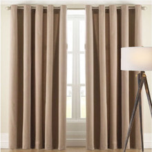 Cantina Latte Floral Leaf Design Eyelet Curtain