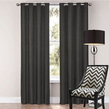 SORRENTO 100% BLOCKOUT EYELET CURTAIN BLACK  | 4 Sizes! | Designer Pick