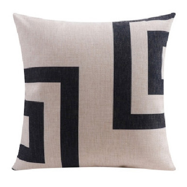 Linen Cushion Cover with Black Squares 45cm x 45cm