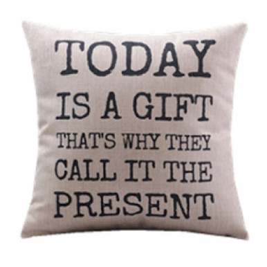Today is  Gift Cushion Cover Linen and Black 45cm x 45cm | Sold Out!
