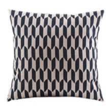 Black Linen Geo Cushion Cover 45cm x 45cm