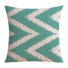 Aqua Chevron Linen Cushion Cover 45cm X 45cm